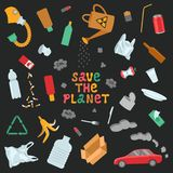 Garbage and environmental pollution illustration vector illustration