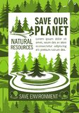Save planet resources banner for ecology design Royalty Free Stock Image