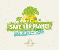 Save The Planet Rough Eco Illustration Concept On Grunge Background Royalty Free Stock Photography