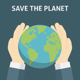 Save The Planet, Save The Earth. Human Hand Holding The Wordl Globe Stock Images