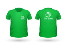 Save Planet T-shirt Front and Back View. Vector. Save planet T-shirt front and back view. Green t-shirt and white text. Realistic t-shirt vector in flat. Ecology Stock Images