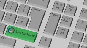 Save the Planet text on the computer keyboard. Save the Planet  text on the computer keyboard with special key in green Stock Photos