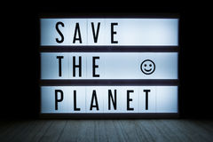 Save the planet. `Save the planet` text in lightbox Stock Photo