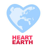 Save the planet vector concept. Vector illustration of the earth as heart shape, playing with the two similar words to form a concept related to environment and Royalty Free Stock Image