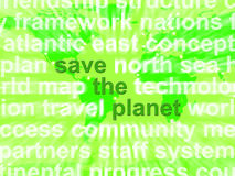 Save The Planet Words In Green Showing Recycling And Eco Friendl Stock Photos