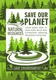 Save planeta zasobów sztandar dla ekologia projekta Obraz Royalty Free