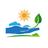 Save a plant in nature logo. Royalty Free Stock Image
