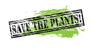 Save the plants black and green stamp on white background. Save the plants black and green  stamp Royalty Free Stock Photography