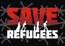 Save refugees banner. The propaganda poster about refugees and illegal migrants. Vector illustration Royalty Free Stock Images