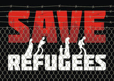 Save refugees  leaflet. The propaganda poster about refugees and illegal migrants. Vector illustration Stock Image