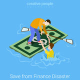 Save rescue finance dept disaster business flat vector isometric. Save rescue from finance dept disaster flat 3d isometry isometric concept web vector Royalty Free Stock Photography
