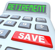 Save for Retirement Words on Calculator Financial Security. Retirement word on calculator with red button reading Save to symbolize the need for savings of money Stock Photography