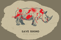 Save rhino. Save wildlife. Royalty Free Stock Photos