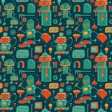 Save robots pattern. Vector seamless pattern with cute retro robots and tools stock illustration