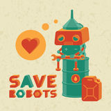 Save robots. Vector illustration with cute retro robot vector illustration