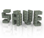 Save słowo pieniądze stert plików Savings sprzedaży rabata gotówkę Obraz Royalty Free