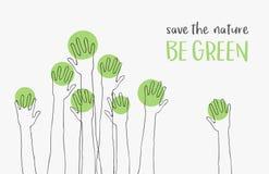 Save Save świat koncepcja ekologii obrazów więcej mojego portfolio wiadomość BYŁ ZIELONA sylwetki ręki podnosić up jak drzewa royalty ilustracja