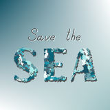 Save the sea call on a blue background Royalty Free Stock Image