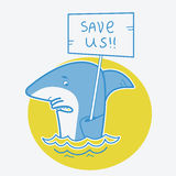 Save sharks.Vector card illustration on white Royalty Free Stock Images