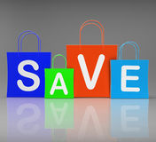 Save Shopping Bags Show Promo and Buying Stock Photo