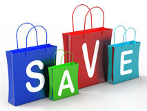 Save On Shopping Bags Shows Bargains Royalty Free Stock Photography