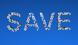Save Sign. Formed by 3d numbers and percentages Stock Photo