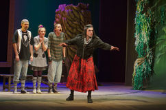 Save Snow White. DNIPRO, UKRAINE - DECEMBER 29, 2016: Save Snow White performed by members of the Dnipro State Drama Theatre stock photography