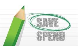 Save instead of Spend. Illustration design over white royalty free illustration