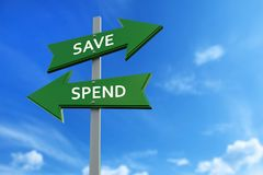 Save and spend arrows opposite directions. Arrows pointing two opposite directions towards save and spend Stock Photos