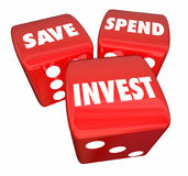 Save Spend Invest 3 Dice Financial Management 3d Illustration. Save Spend Invest 3 Dice Financial Management Stock Image