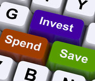 Save Spend Invest Keys Show Financial Choices Royalty Free Stock Photography