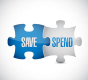 save and spend puzzle pieces sign Royalty Free Stock Images