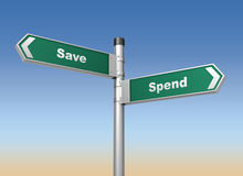 Save spend road sign Stock Image