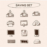 Save and store data symbols set. Stock Photography