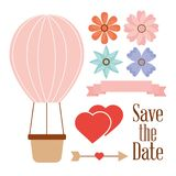 Save The Date Balloon Basket Hearts Flowers And Arrow