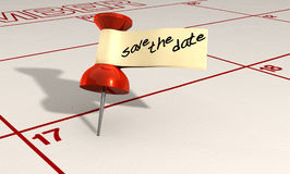 Save The Date Thumbtack Stock Photography
