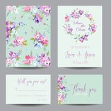 Save The Date Wedding Invitation Template With Spring Dogwood Flowers. Romantic Floral Greeting Card Set For Celebration Royalty Free Stock Photos