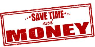 Save time and money. Stamp with text save time and money inside,  ilustration Royalty Free Stock Photography