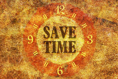 Save time. Text Save Time in the center of a circle on textured background Stock Photography