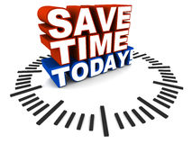 Save time today. Text save time today on a clock dial, white background, concept of time saving techniques, offers and convenience services Royalty Free Stock Photo