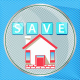 Save to save to insure the house. Round button. illustration for your design Stock Image