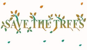 Save The Trees. Generated in Photoshop with white background Stock Images