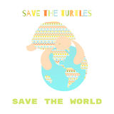 Save the turtles. Save the world. Turtle hugs the globe. Folk ornament Royalty Free Stock Photos