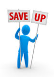 Save up. Men holds two banners with the percent save up sign. Concept of adverting discount, bargain sale and saving up Royalty Free Stock Photography