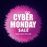 Save up to 75% discount offer for Cyber Monday Sale. Template or. Flyer design for advertisement concept stock illustration
