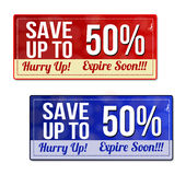 Save up to 50 percent coupon, voucher, tag Royalty Free Stock Images