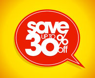 Save up to 30 percents off, sale speech bubble. Stock Photography