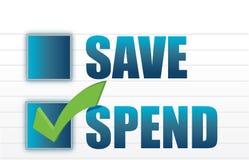 Save vs spend checkmark selection. Illustration design Royalty Free Stock Image