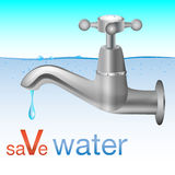 Save Water. Conceptual save water design with tap dripping Royalty Free Stock Photography