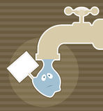 Save water. Illustration of cute falling drop of water Stock Photography